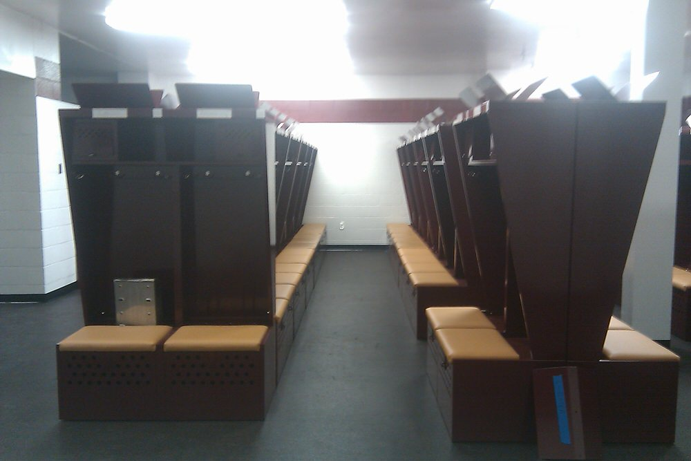 The new lockers give Fighting Falcons football players more space and a place to